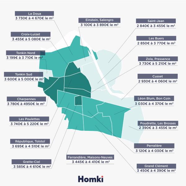 Carte prix immobilier Villeurbanne - Homki
