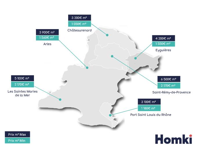 Carte prix immobilier Arles - Homki