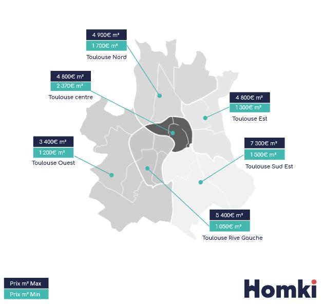 Carte prix immobilier Toulouse - Homki